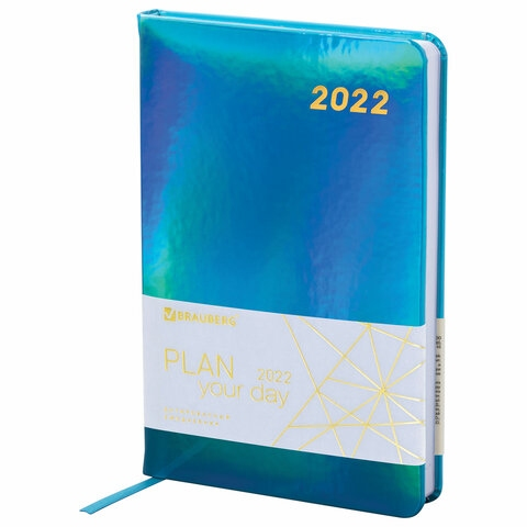 """Ежедневник датированный 2022 А5 138x213 мм BRAUBERG """"Holiday"""", """"зеркальный кожзам"""", бирюзовый, 112748 - 1"""