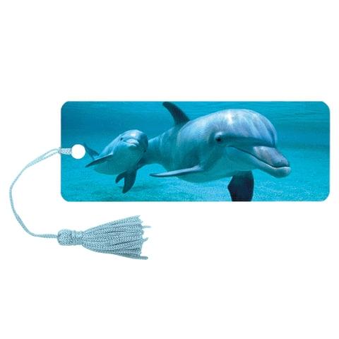 """Закладка для книг 3D, BRAUBERG, объемная c движением """"Дельфин"""", с декоративным шнурком-завязкой, 125749 - 1"""