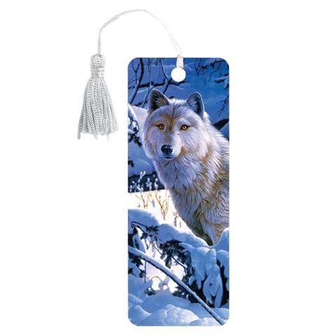 """Закладка для книг 3D, BRAUBERG, объемная, """"Белый волк"""", с декоративным шнурком-завязкой, 125752 - 1"""