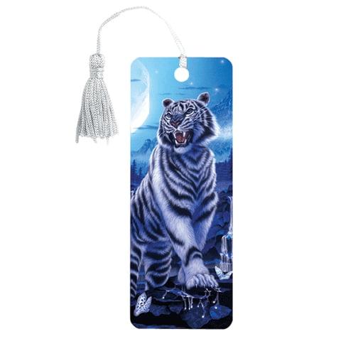 "Закладка для книг 3D, BRAUBERG, объемная, ""Белый тигр"", с декоративным шнурком-завязкой, 125754 - 1"