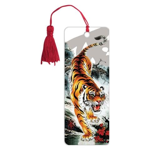 """Закладка для книг 3D, BRAUBERG, объемная, """"Бенгальский тигр"""", с декоративным шнурком-завязкой, 125755 - 1"""
