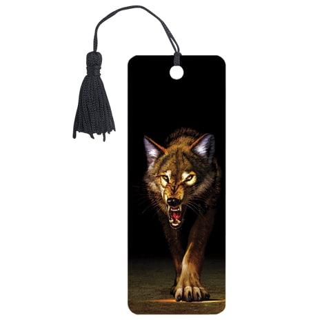 """Закладка для книг 3D, BRAUBERG, объемная, """"Волк"""", с декоративным шнурком-завязкой, 125756 - 1"""