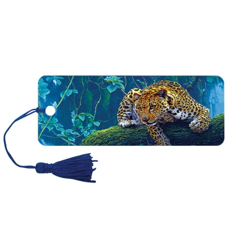 "Закладка для книг 3D, BRAUBERG, объемная, ""Леопард"", с декоративным шнурком-завязкой, 125766 - 1"