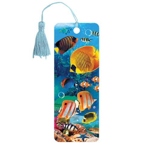 """Закладка для книг 3D, BRAUBERG, объемная, """"Экзотические рыбки"""", с декоративным шнурком-завязкой, 125779 - 1"""