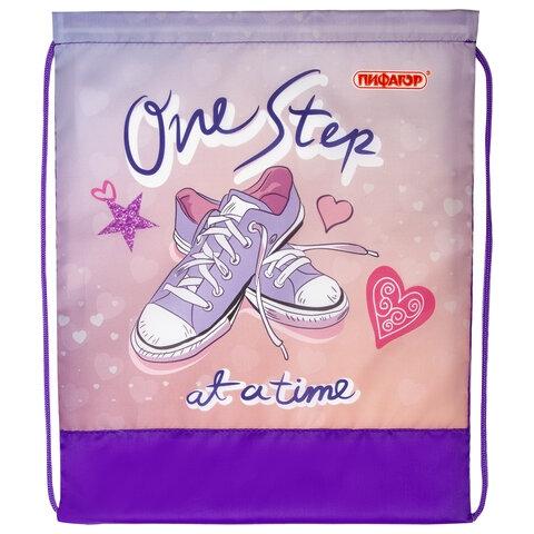 """Сумка для обуви ПИФАГОР, 1 отделение, 42х34 см, """"One step"""", 270183 - 2"""