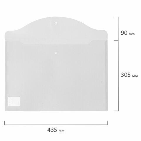 Папка-конверт с кнопкой БОЛЬШОГО ФОРМАТА (300х430 мм), А3, прозрачная, 0,15 мм, STAFF, 228667 - 9