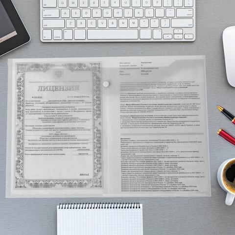 Папка-конверт с кнопкой БОЛЬШОГО ФОРМАТА (300х430 мм), А3, прозрачная, 0,15 мм, STAFF, 228667 - 8
