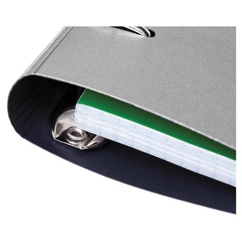 """Тетрадь на кольцах А5 (175х220 мм), 120 л., пластиковая обложка, клетка, с фиксирующей резинкой, HATBER """"METALLIC"""", серый, 334485, 120ТК5Вр1_03414 - 2"""