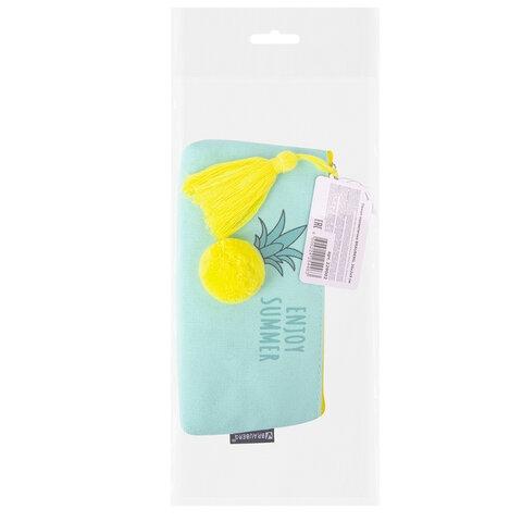 "Пенал-косметичка BRAUBERG, канвас с объемной аппликацией, ""Ananas"", 20х3х9 см, 229002 - 7"