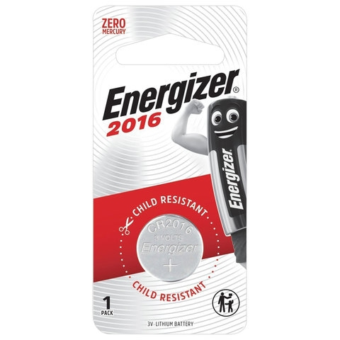 Батарейка ENERGIZER, CR 2016, литиевая, 1 шт, в блистере, E301021801 - 1