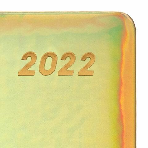 """Ежедневник датированный 2022 А5 138x213 мм BRAUBERG """"Holiday"""", """"зеркальный кожзам"""", золотистый, 112747 - 3"""