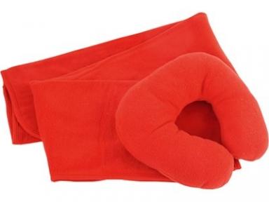Oasis Набор для путешествий с комфортом: плед и подушка под голову, в чехле красный