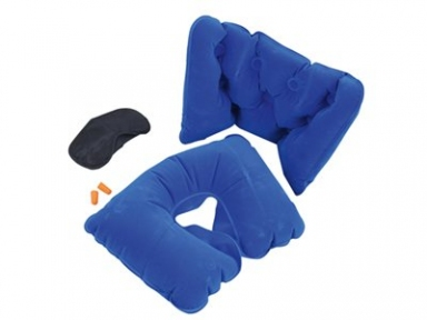 Oasis Набор для путешествий с комфортом: повязка на глаза для спокойного сна в дороге, подушка для спины, подушка под голову, беруши, дорожный чехол синий