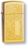 Зажигалка ZIPPO Slim® Venetian® с покрытием High Polish Brass, латунь/сталь, 30x10x55 мм