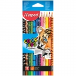 "Карандаши Maped ""Color Peps Animals"", 12цв., трехгран., заточен., картон, европодвес"
