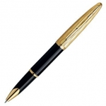 Роллерная ручка Waterman Carene Essential Black and Gold GT, детали дизайна: позолота 23К