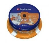 Диск DVD-R Verbatim 4.7 Gb, 16x, Cake Box (25), Printable (25/200)